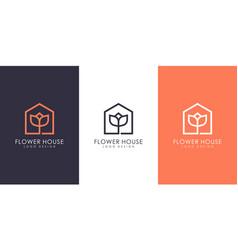 Flower house logo design vector