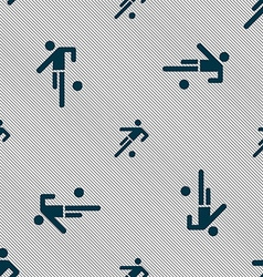 Football player icon Seamless pattern with vector