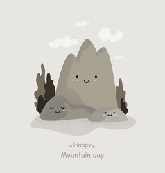 funny cartoons character mountains with cute face vector image