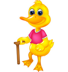 Funny duck cartoon standing bring stick with smile vector
