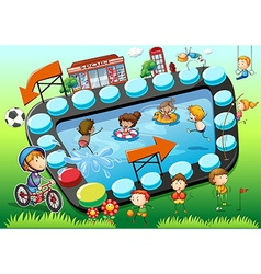 Game template with children and sports background vector