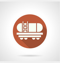 Gasoline tank rail car orange round icon vector
