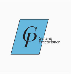gp logo with letter g and letter p on white vector image
