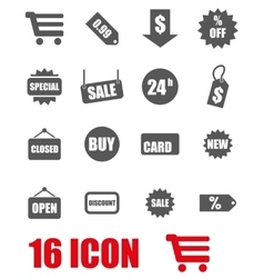 grey shopping icon set vector image