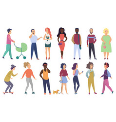 group of male and female people modern vector image