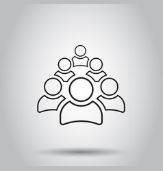 Group of people icon in line style on isolated vector