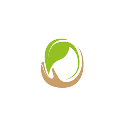 hand and leaf for plant care and nature for logo vector image