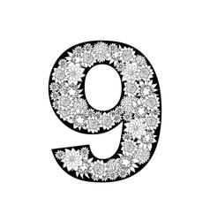Hand drawn floral alphabet design Digit 9 vector image