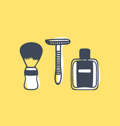 Hand drawn tools for shaving vector