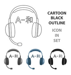 headphones with translator icon in cartoon style vector image