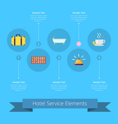 hotel service elements icons vector image
