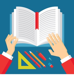 Human Hands and Book - Education Concept vector