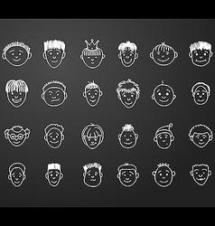 Icon set 24 faces of boys vector