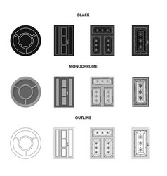 Isolated object of door and front symbol set of vector