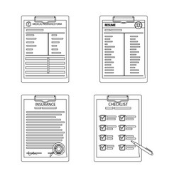 isolated object of form and document icon vector image