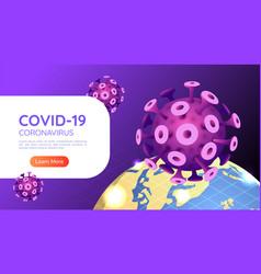 isometric web banner covid-19 virus vector image