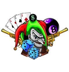 joker and revolvers in white vector image
