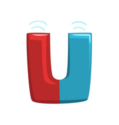 Letter u in shape red and blue horseshoe magnet vector