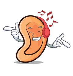 Listening music ear mascot cartoon style vector