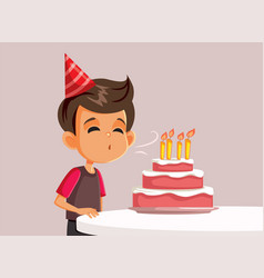 Little birthday boy blowing candles on a cake vect vector