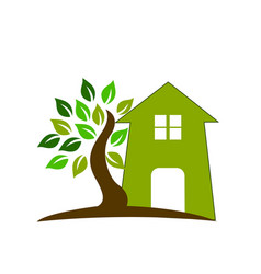 logo real estate house and tree vector image