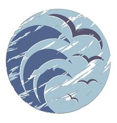 Logo sea with seagulls vector