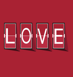 Love font on mechanical panel letters typography vector