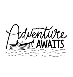 Man on boat with acoustic guitar adventure awaits vector