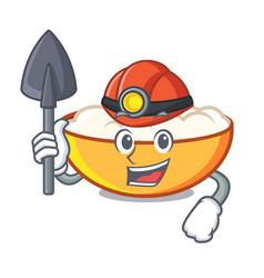 Miner cottage cheese mascot cartoon vector