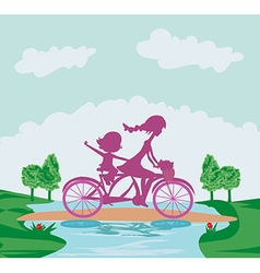 Mother and daughter biking vector image