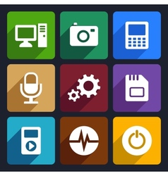 Multimedia flat icons set 9 vector image