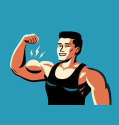 Muscular man flexing arm straining strong biceps vector