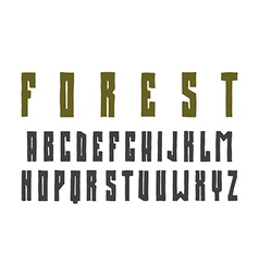 Narrow sanserif font in the style of hand drawn vector