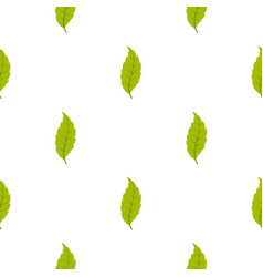 Narrow toothed green leaf pattern seamless vector