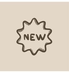 New tag sketch icon vector