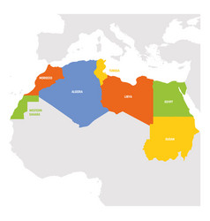 North africa region map countries in northern vector