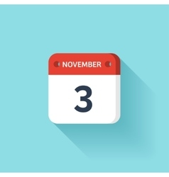 November 3 Isometric Calendar Icon With Shadow vector