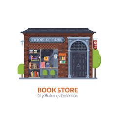 Old book shop building facade vector