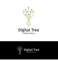 Outline digital tree logotype Digital vector