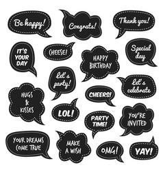 party props photo booth comic speech bubbles vector image