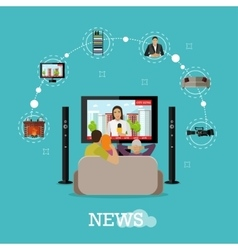 People at home watching city news on tv Concept vector