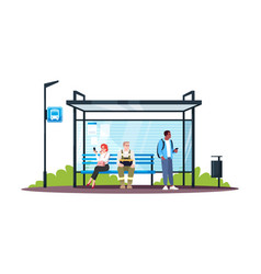 people sitting at bus station semi flat rgb color vector image