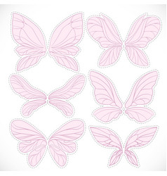 Pink fairy wings with dotted outline for cutting vector