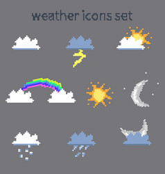 pixel weather icons vector image