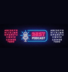 podcast neon sign best podcast design vector image