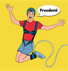 Pop art excited man jumping bungee extreme sports vector