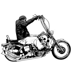 Rider on chopper vector
