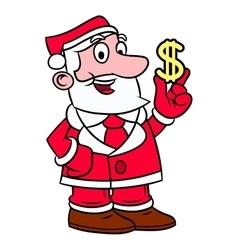 Santa Claus holding dollar sign vector image