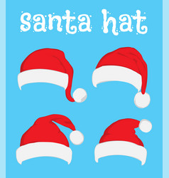 santa claus red hat set on white vector image