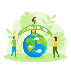 save green planet happy earth day care flat vector image